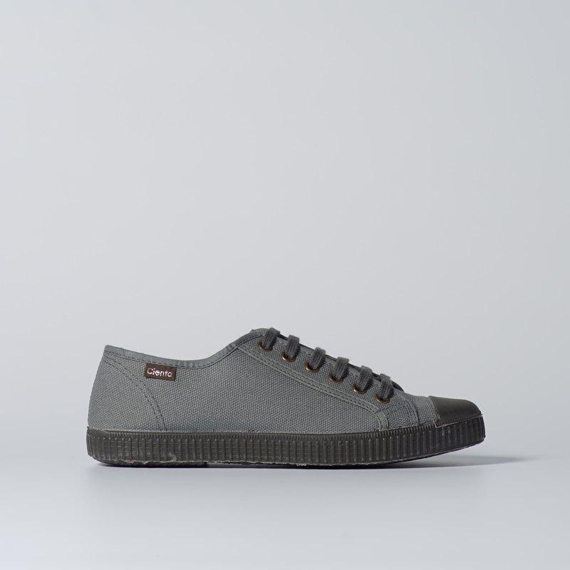 西班牙帆布鞋 CIENTA U74020 23 灰色 黑底 020布料 大人 繫帶款