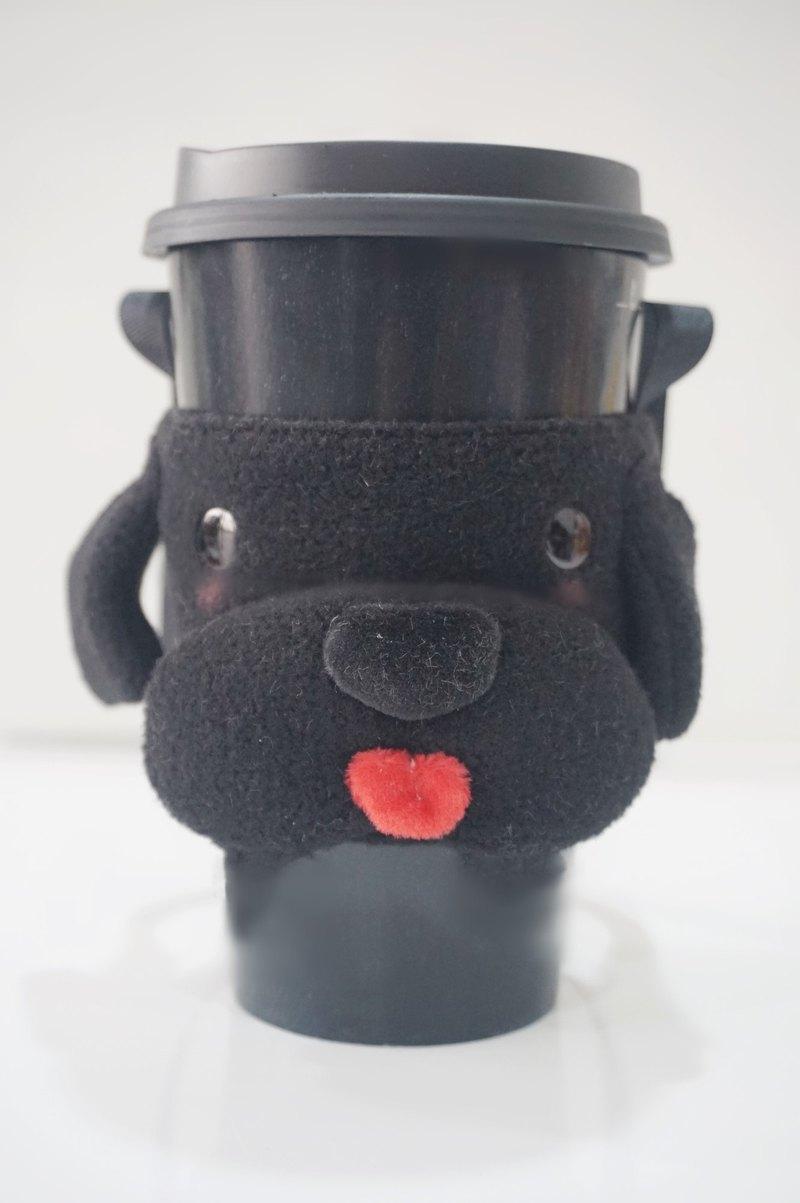 bucute小黑犬立體環保飲料提袋/飲料杯套/環保杯套/提袋/超人氣/手作