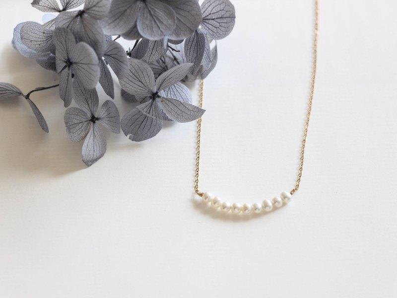 微笑項鏈14Kgf 天然迷你珍珠 閨蜜女友生日禮物 聖誕交換禮物包裝