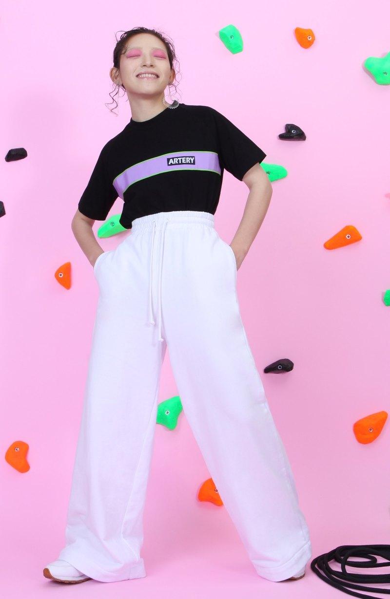 ARTERY 拉克蘭袖織帶 T-SHIRT 黑底 紫/綠