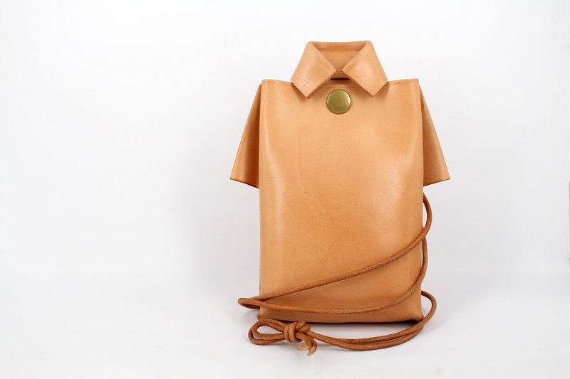 MOOS X WASOME ORIGAMI 植鞣牛革 全人手縫單肩 旅行小包 (原色)