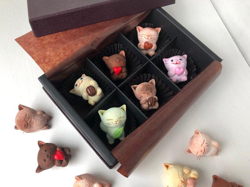 可以選擇的像巧克力一樣的6隻貓一套