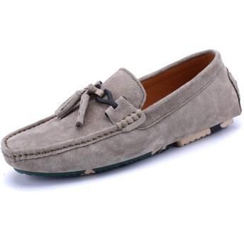 メンズ シューズ 快適 レザーメンズワンフットカジュアルセットフットシューズ通気性迷彩エンドウ豆の靴 (色 : カーキ, サイズ : 40)