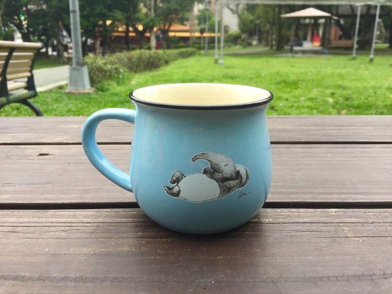 馬來貘插畫陶瓷咖啡杯-休息篇  天藍色
