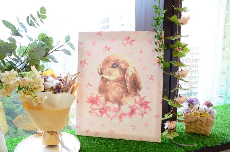 Tammy St. 原創設計 - 浪漫嫩粉櫻花兔子掛畫