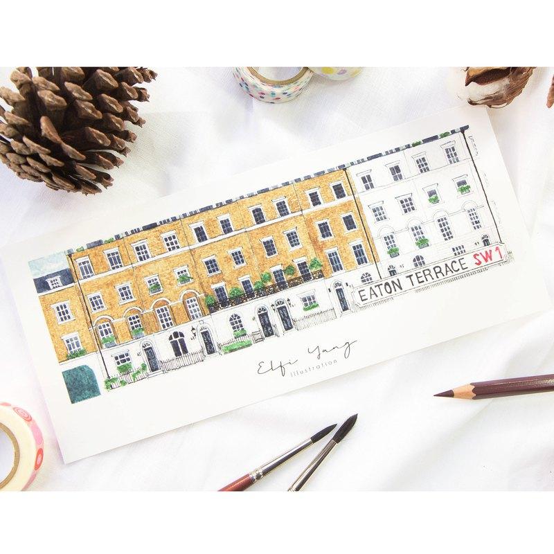 水彩插畫卡片 倫敦街屋系列  3. 伊頓露台 Eaton Terrace