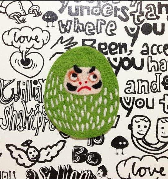 Mew in Wonderland ─脾氣壞壞不倒翁先生系列~綠色不倒翁羊毛氈杯墊