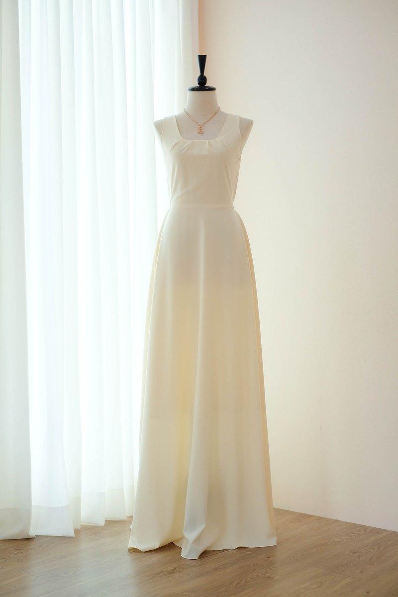 黃油連衣裙黃色伴娘長連衣裙蝴蝶結舞會舞會禮服