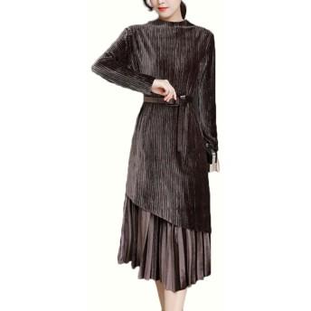 Heaven Days(ヘブンデイズ) ドレス ワンピース フォーマル パーティ 長袖 ベルト付き コーデュロイ ツーピース プリーツ レディース 1801D0214