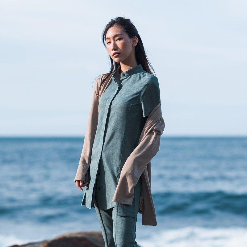 ECO-lor 立領襯衫洋裝 (藍綠色)