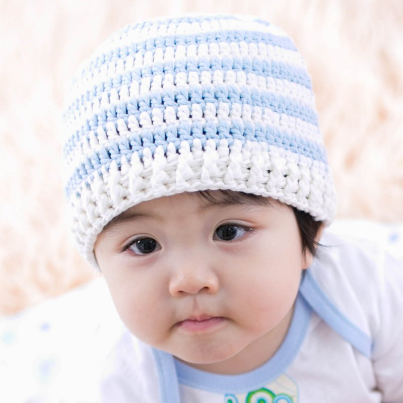Cutie Bella手工編織帽Stripe-Cream/Blue