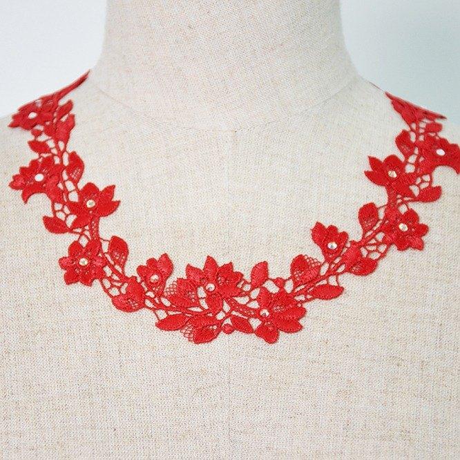 PINKOI限定福袋-紅色花漾項鍊&耳環兩件組