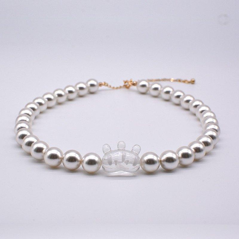 【故障兔子】左右兔子項鏈 透明冰涼感珍珠 古怪可愛