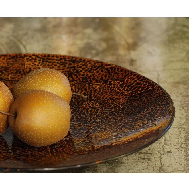 皇家收納貝殼木網漆器天然竹盆(帝王金)