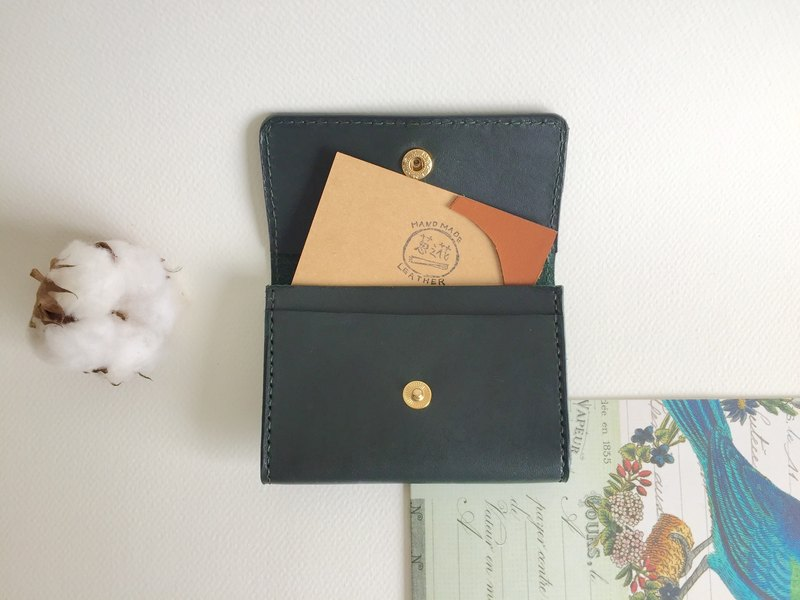畢業禮物/低調綠卡夾、名片夾 皮革手工縫製