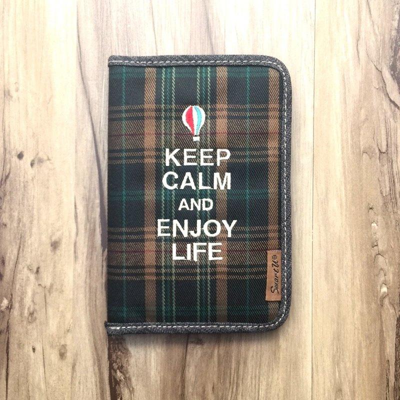 英倫風棕綠格護照夾