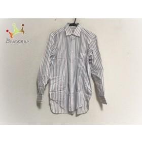 バルバ BARBA 長袖シャツ サイズ4015 3/4 メンズ 美品 白×ピンク×ブルー ストライプ 新着 20191003