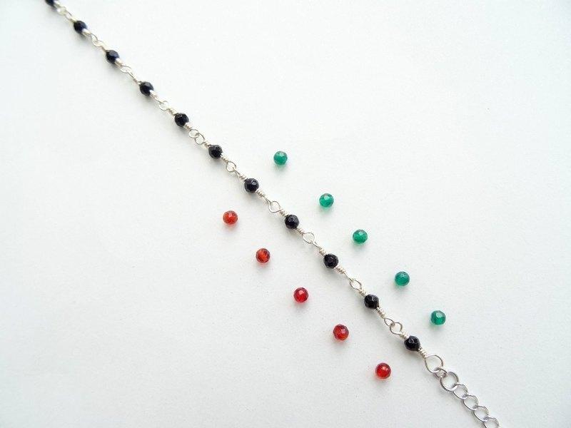 ::輕珠寶:: 細細的紅瑪瑙綠瑪瑙小自在純銀手鍊