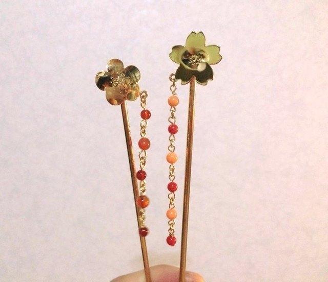櫻花◇黃銅珊瑚髮夾