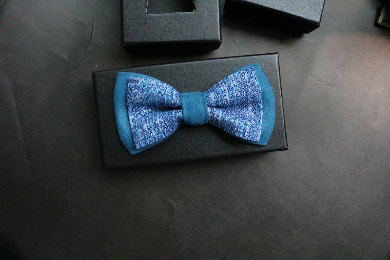 湖蓝麂皮拼接炫染布料领结全新撞色系列蝴蝶结