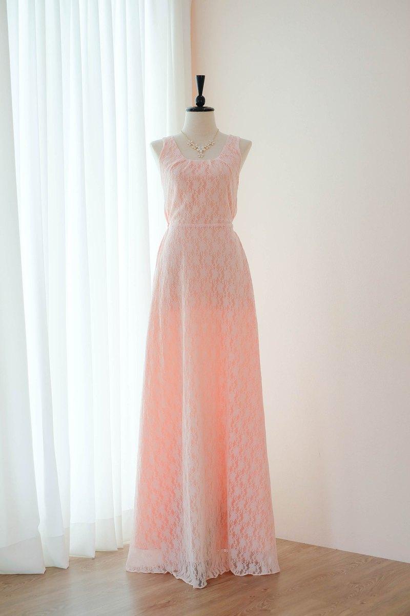 粉色腮紅連衣裙蕾絲伴娘長連衣裙蝴蝶結舞會舞會禮服