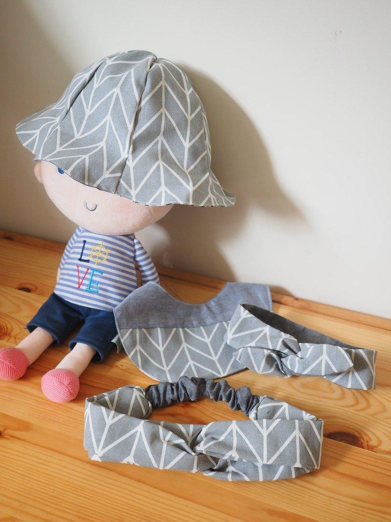 彌月禮盒 手作北歐簡約風灰色圖案嬰兒/小童圍兜帽子髮帶套裝