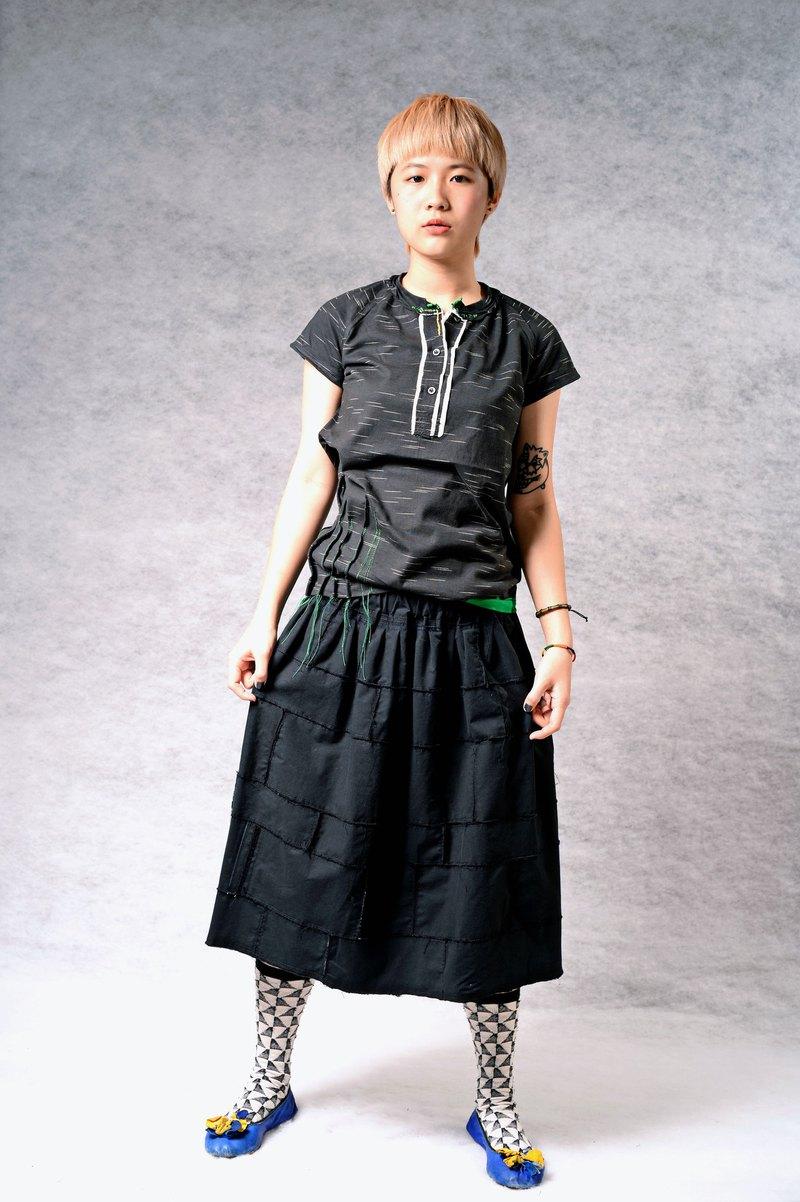溫度手縫*跳色前襟 棉織上衣(黑/墨綠2色)