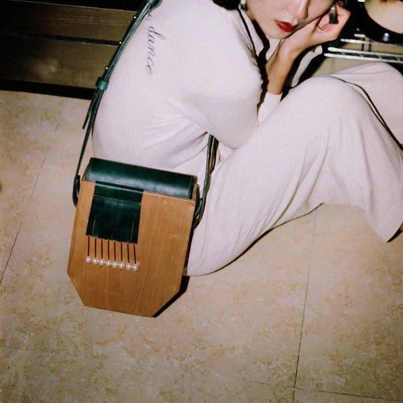 栗子先生LIZSUNG 手工定制 復古珍珠櫻桃木包