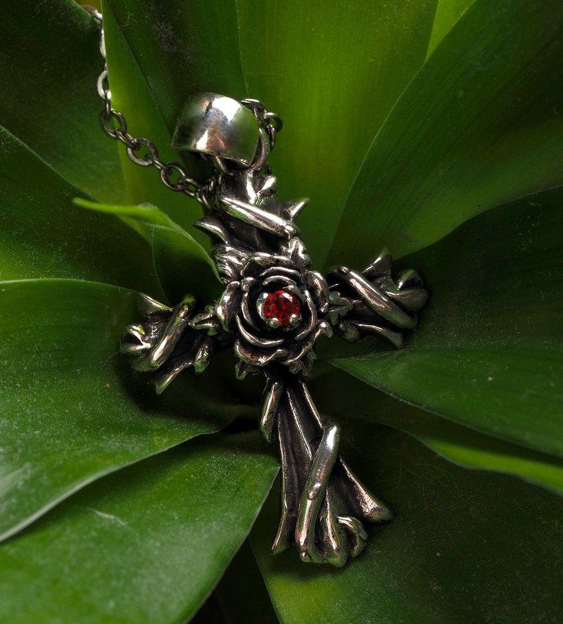 925純銀飾 玫瑰紅鑽十字架項鍊墜飾 歌德華麗 鑽色可換 單墜價