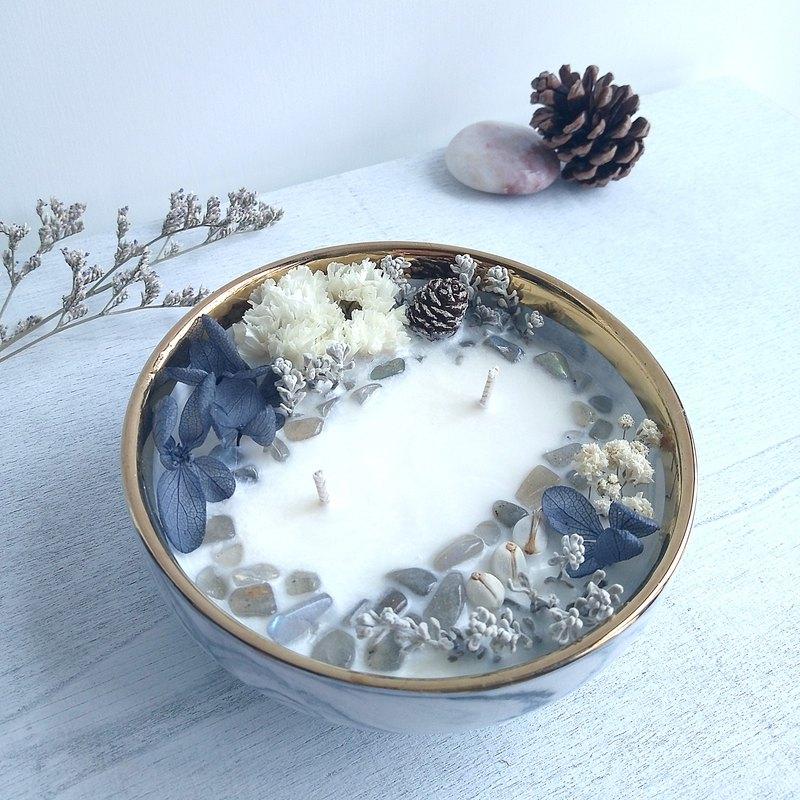 獨家 - 月光石 大理石碗  50g 250g 大豆蠟香氛蠟燭 天然晶石