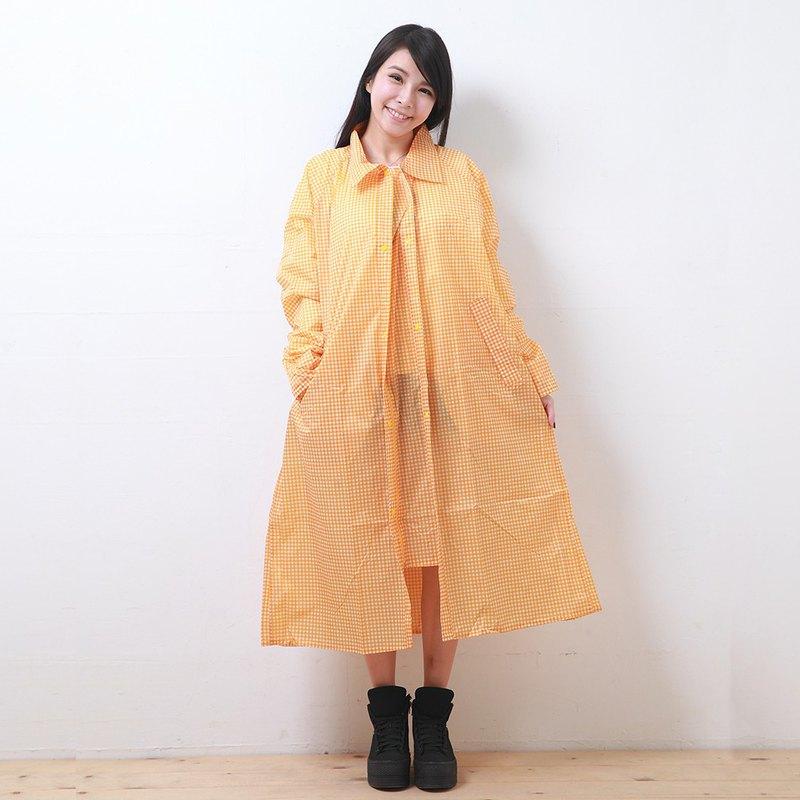 印花前開連身式風雨衣-黃白格