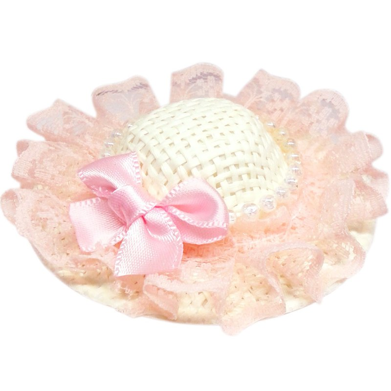 珍珠蕾絲蝴蝶結遮陽帽髮夾 全包布手工髮飾Sun Hat-Peach