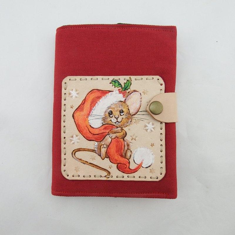 聖誕松鼠皮革筆記本手帳書札書衣