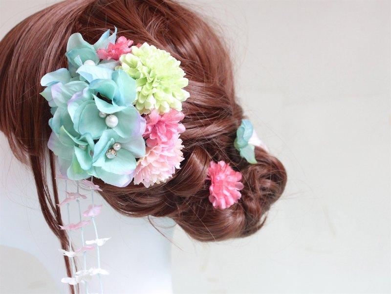 手工串珠日式 和服浴衣頭飾 髮簪 -5件套- 賞櫻(客製化,請先查詢)
