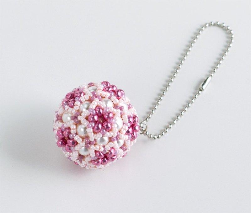 星形花朵圖案球手機帶粉紅