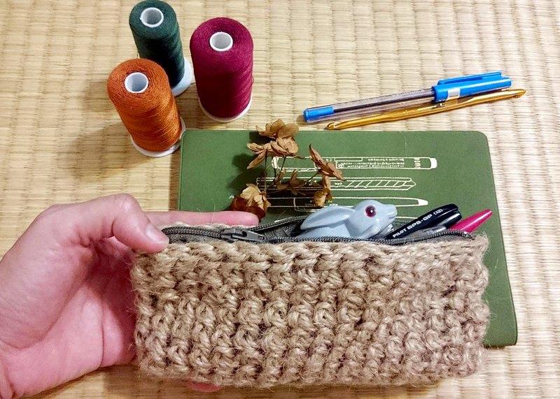 手工麻繩編織長方形筆袋