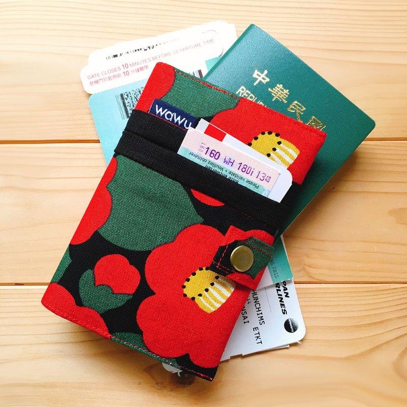 護照套+扣帶 (山茶花)  日布 接單生產*