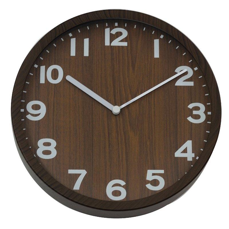 Natural - 深木紋溫度靜音 掛鐘 時鐘