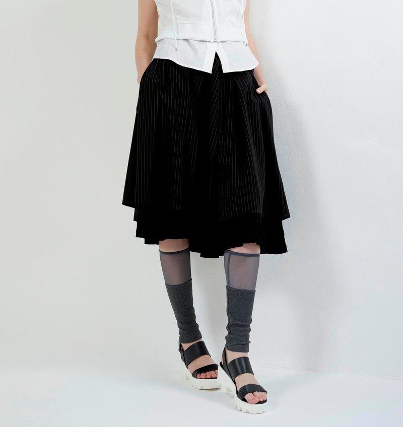 雙層綁帶半截裙褲