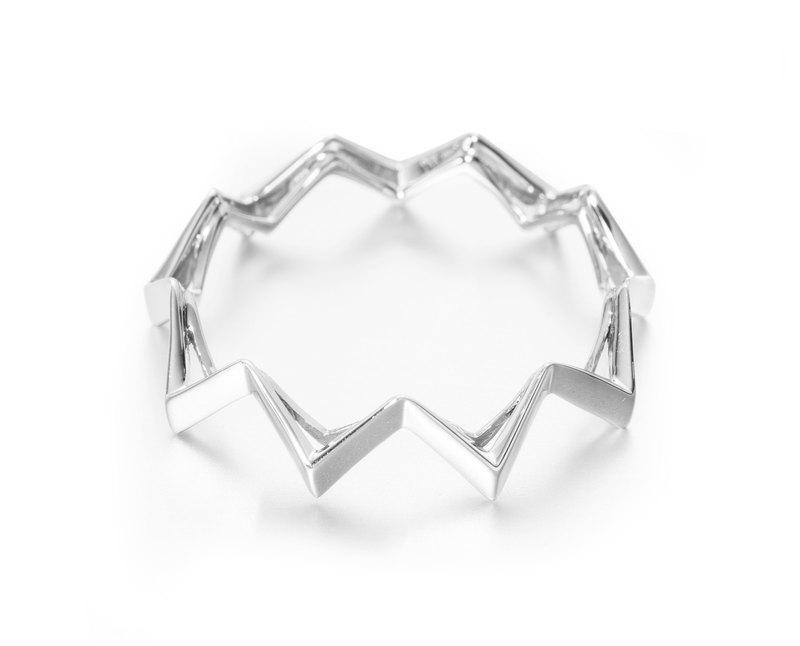 個性紳士金戒指 質感白金鋸齒男戒 簡約白金素戒 14K白金幾何戒指