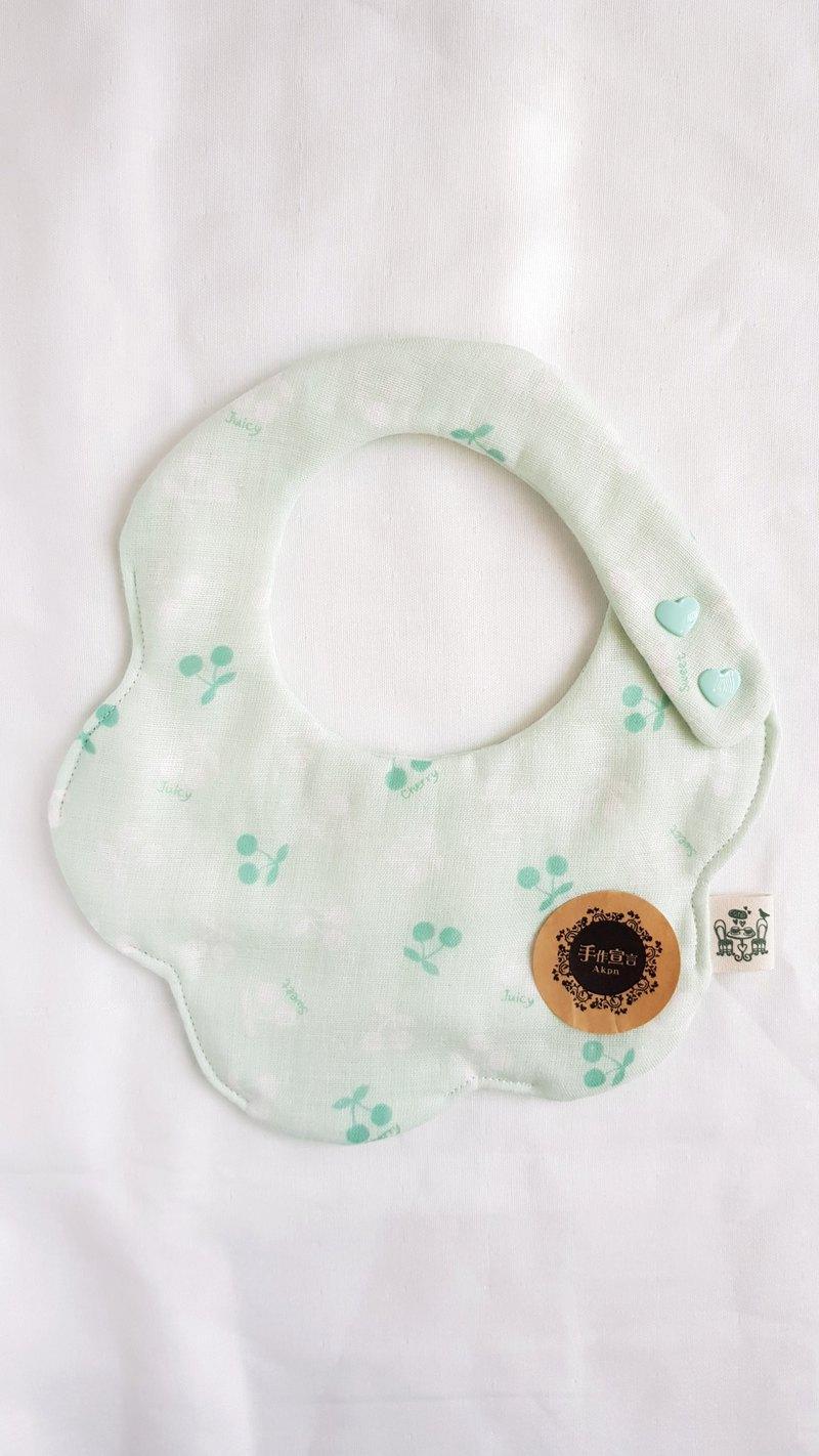 櫻桃/薄荷綠/八重紗100%cotton雙面造型圍兜.口水巾