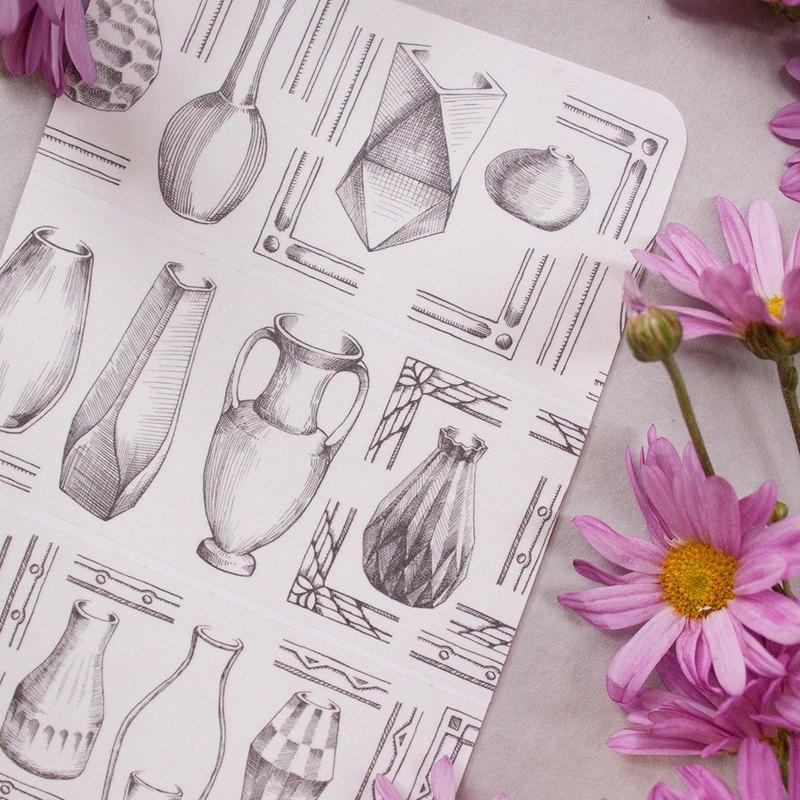 5cm紙膠帶 - 花瓶 Flower Vases - 自帶離型紙
