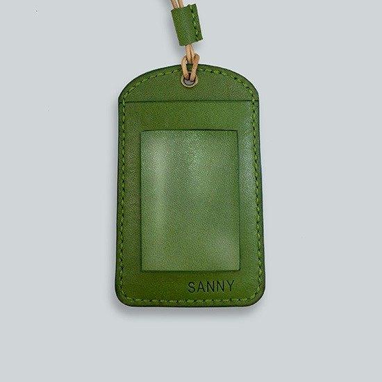 皮製圓頂掛繩識別證套 / 悠遊卡夾