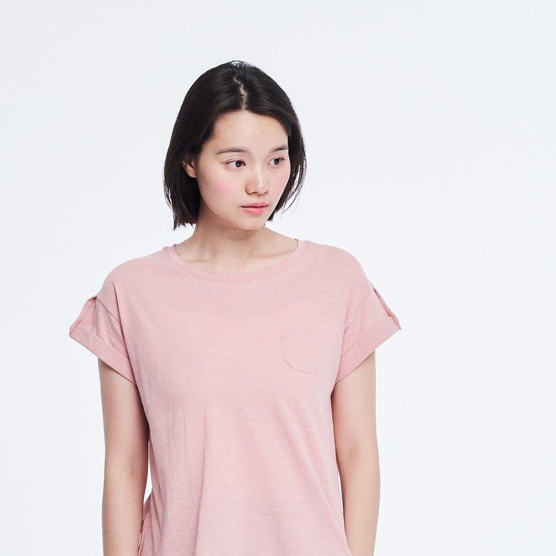 竹節棉褶袖鈕扣上衣/櫻花粉