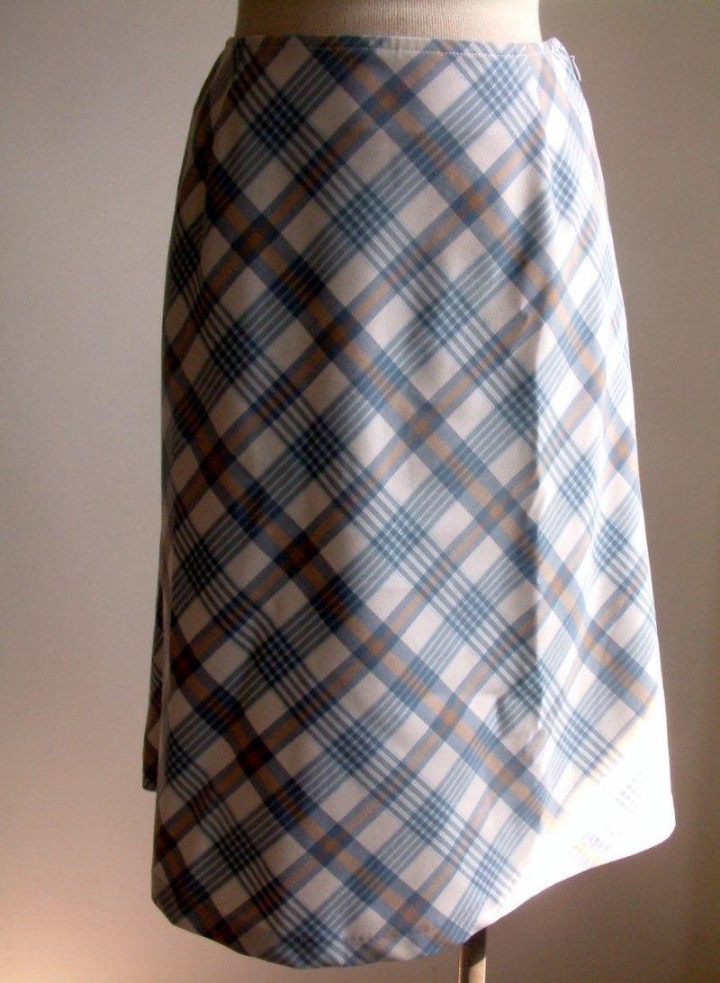格子紋及膝裙-水藍