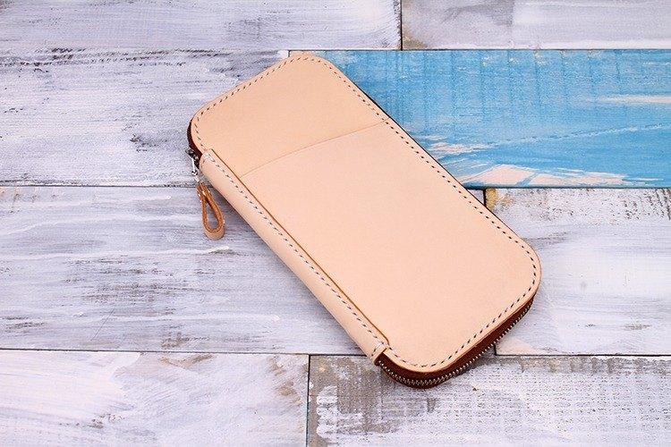 【切線派】意大利植鞣革純手工真皮護照包旅行收納錢包長款原色