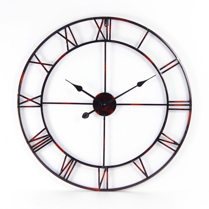 HomePlus Loft 鐵製工業風時鐘 直徑68cm 黑色烤漆 羅馬數字 靜音