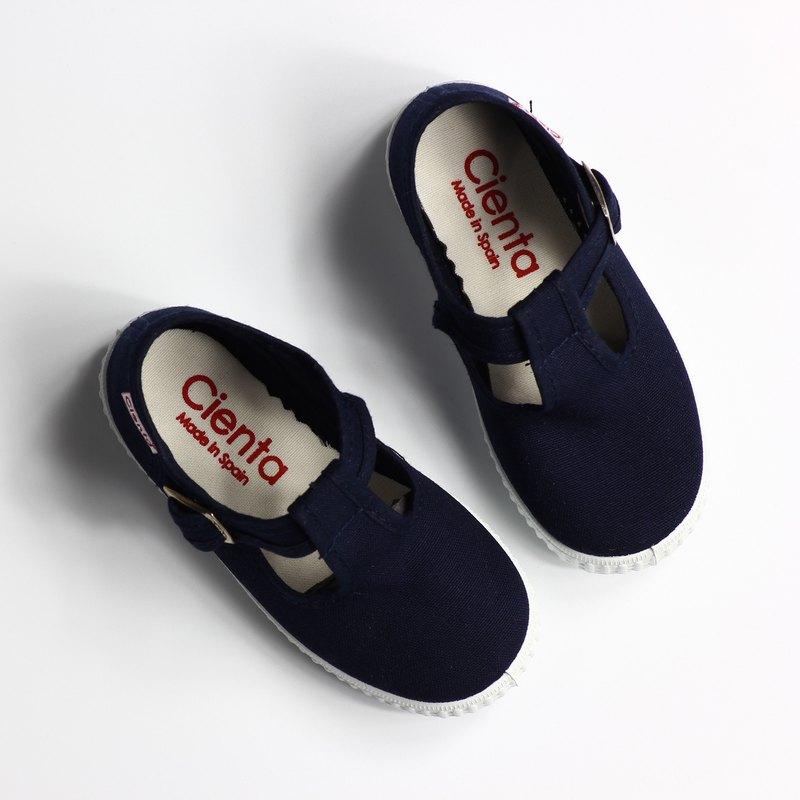 西班牙國民帆布鞋 CIENTA 51000 77 深藍色 經典布料 大人 T字款