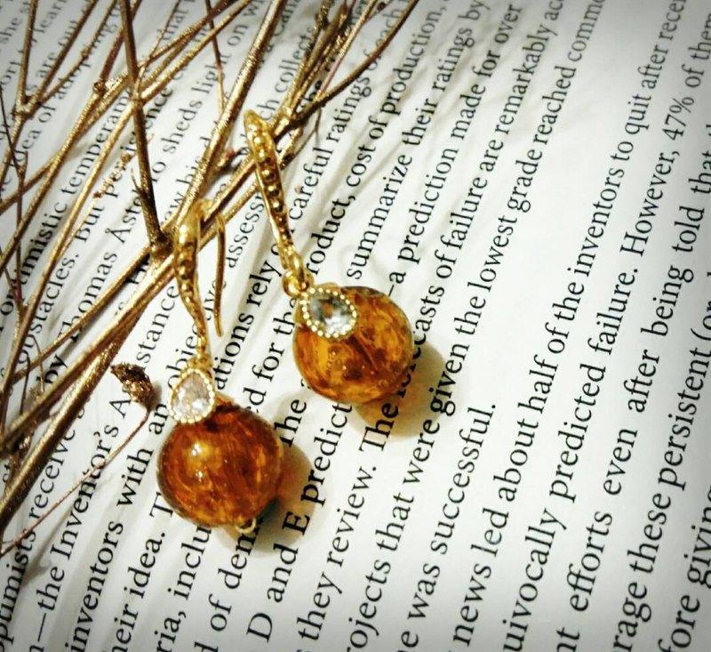 楓*  手工金沙琉璃 香氛 精油 耳環  輕珠寶