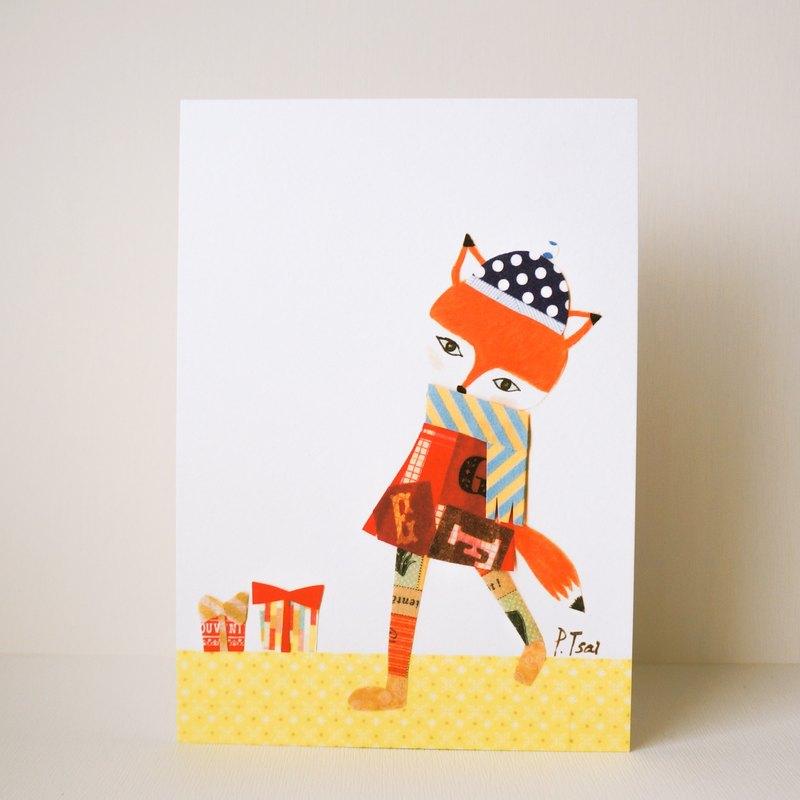 明信片 紙膠帶 手繪 小狐狸穿很多